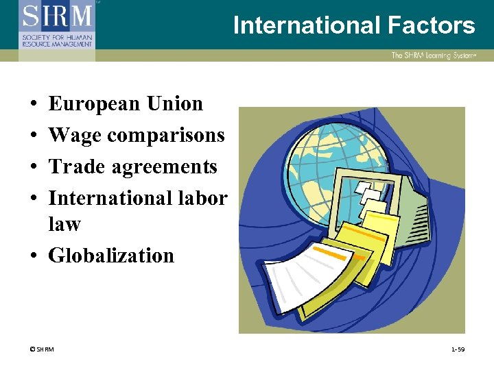 International Factors • • European Union Wage comparisons Trade agreements International labor law •