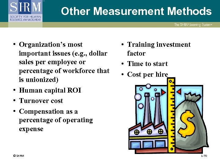 Other Measurement Methods • Organization's most important issues (e. g. , dollar sales per