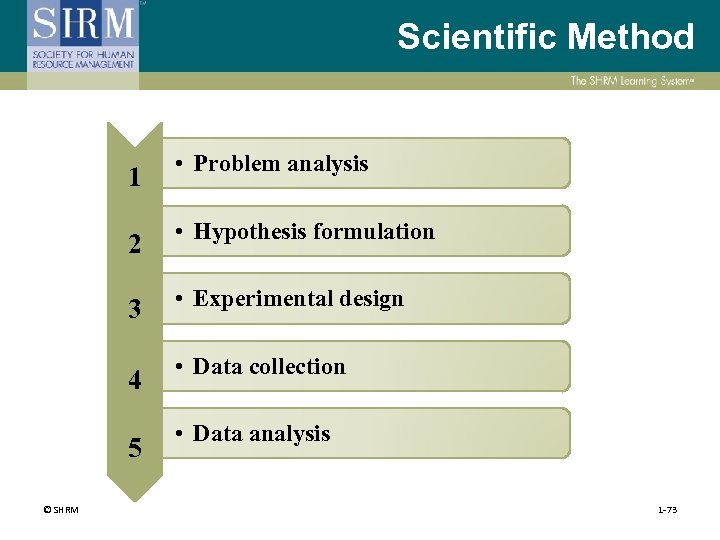 Scientific Method 1 • Problem analysis 2 • Hypothesis formulation 3 • Experimental design
