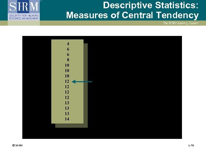 Descriptive Statistics: Measures of Central Tendency © SHRM 1 -79