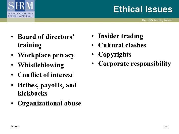 Ethical Issues • Board of directors' training • Workplace privacy • Whistleblowing • Conflict