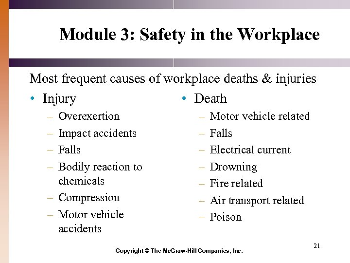 Module 3: Safety in the Workplace Most frequent causes of workplace deaths & injuries