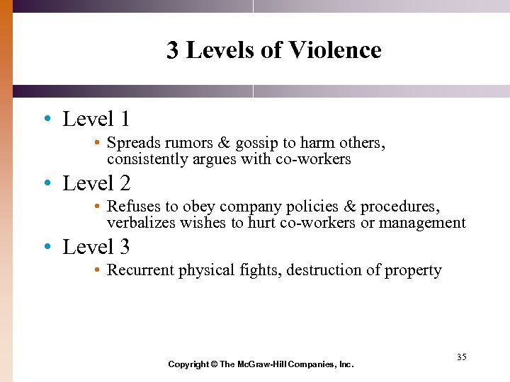 3 Levels of Violence • Level 1 • Spreads rumors & gossip to harm