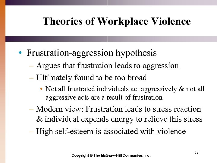 Theories of Workplace Violence • Frustration-aggression hypothesis – Argues that frustration leads to aggression