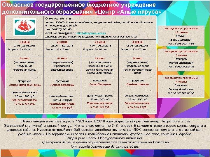 Областное государственное бюджетное учреждение дополнительного образования «Центр «Алые паруса» ОГРН: 1027301111551 Индекс: 433408, Ульяновская