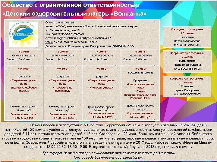 Общество с ограниченной ответственностью «Детский оздоровительный лагерь «Волжанка» ОГРН: 1057321006159 Индекс: 433340, Ульяновская область,