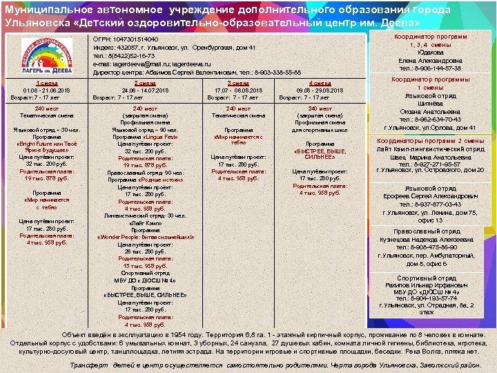 Муниципальное автономное учреждение дополнительного образования города Ульяновска «Детский оздоровительно-образовательный центр им. Деева» ОГРН: 1047301514040