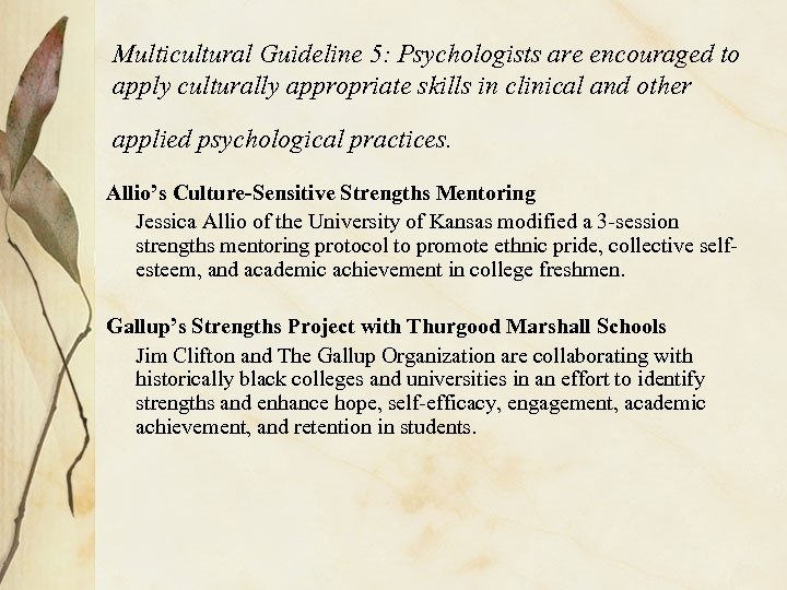 Multicultural Guideline 5: Psychologists are encouraged to apply culturally appropriate skills in clinical and