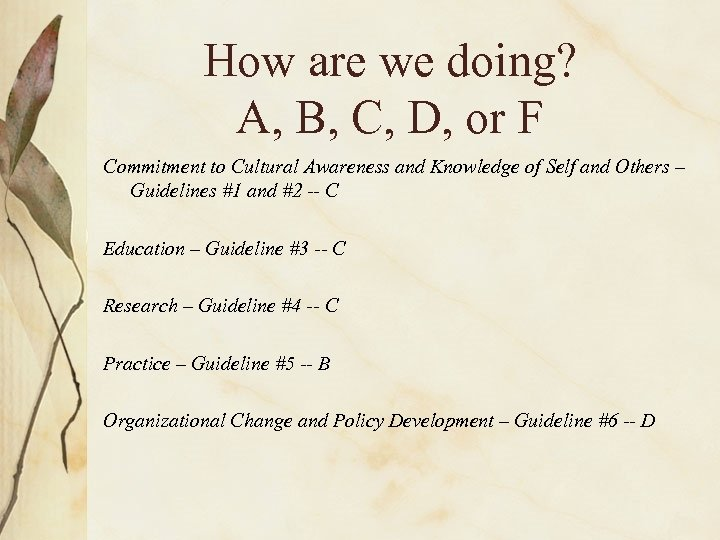 How are we doing? A, B, C, D, or F Commitment to Cultural Awareness