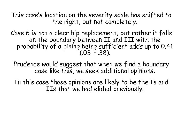 This case's location on the severity scale has shifted to the right, but not
