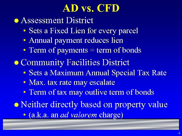 AD vs. CFD l Assessment District • Sets a Fixed Lien for every parcel