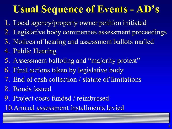 Usual Sequence of Events - AD's 1. Local agency/property owner petition initiated 2. Legislative