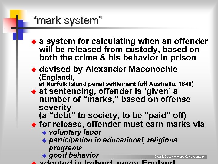 """""""mark system"""" a system for calculating when an offender will be released from custody,"""