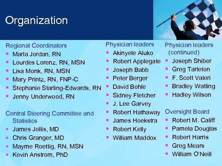 Organization Regional Coordinators § Marla Jordan, RN § Lourdes Lorenz, RN, MSN § Lisa