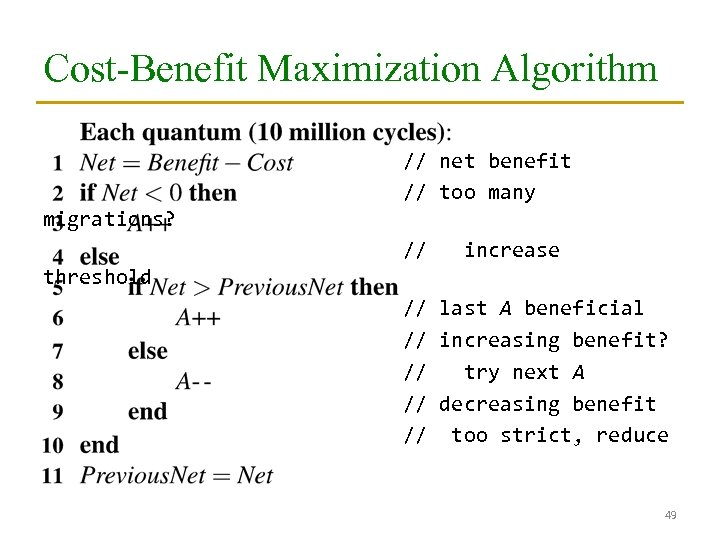 Cost-Benefit Maximization Algorithm // net benefit // too many migrations? // increase threshold //