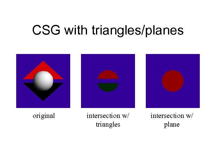 CSG with triangles/planes original intersection w/ triangles intersection w/ plane