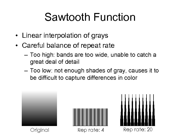 Sawtooth Function • Linear interpolation of grays • Careful balance of repeat rate –