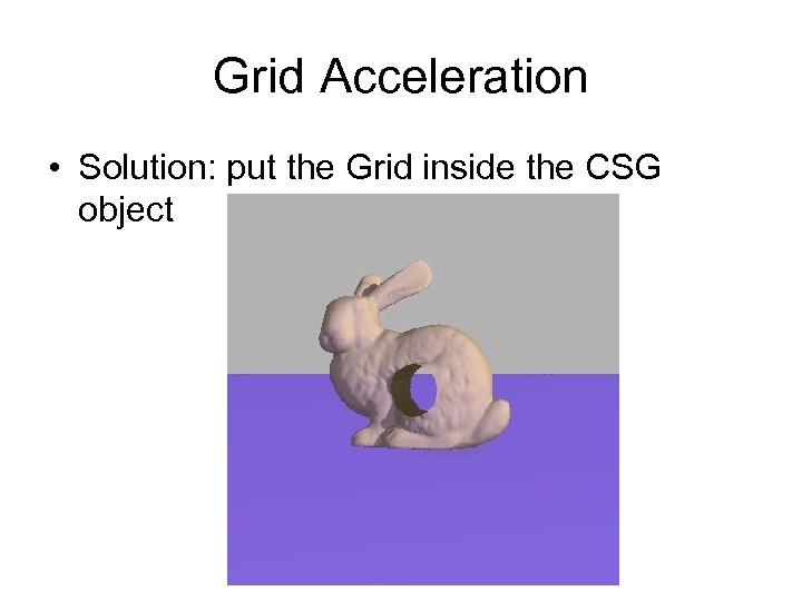 Grid Acceleration • Solution: put the Grid inside the CSG object