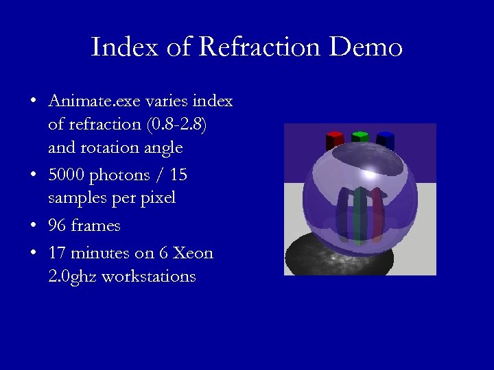 Index of Refraction Demo • Animate. exe varies index of refraction (0. 8 -2.