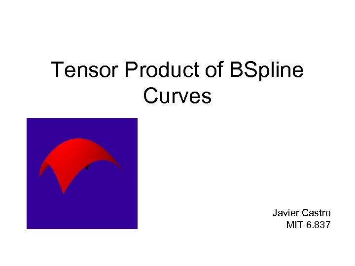 Tensor Product of BSpline Curves Javier Castro MIT 6. 837