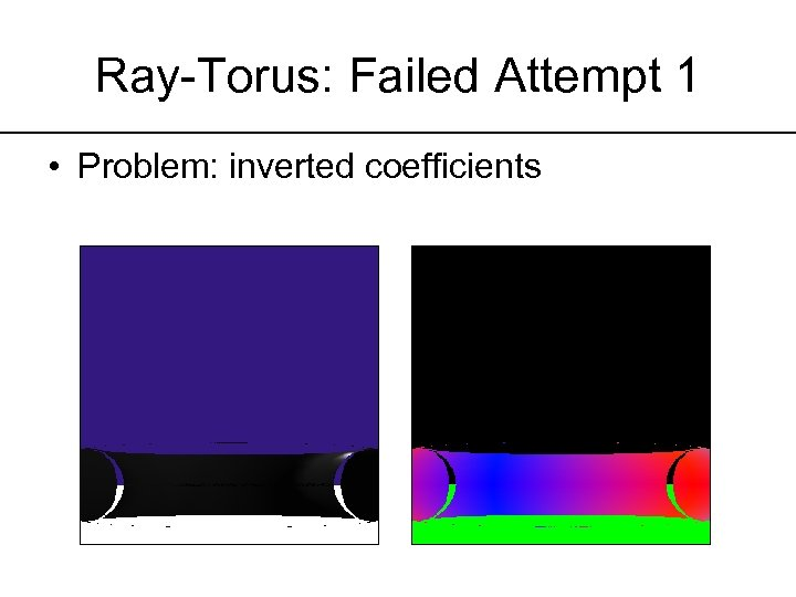 Ray-Torus: Failed Attempt 1 • Problem: inverted coefficients