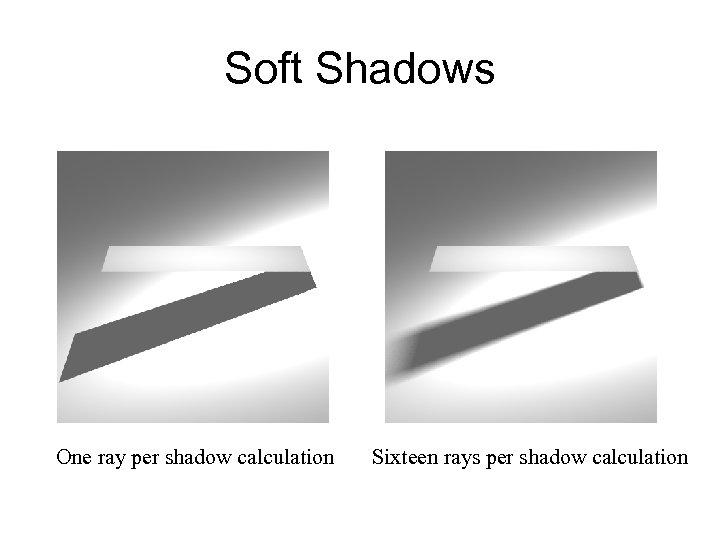 Soft Shadows One ray per shadow calculation Sixteen rays per shadow calculation