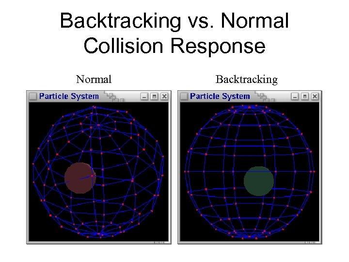 Backtracking vs. Normal Collision Response Normal Backtracking