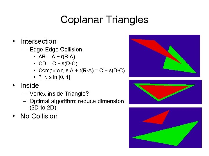 Coplanar Triangles • Intersection – Edge-Edge Collision • • AB = A + r(B-A)