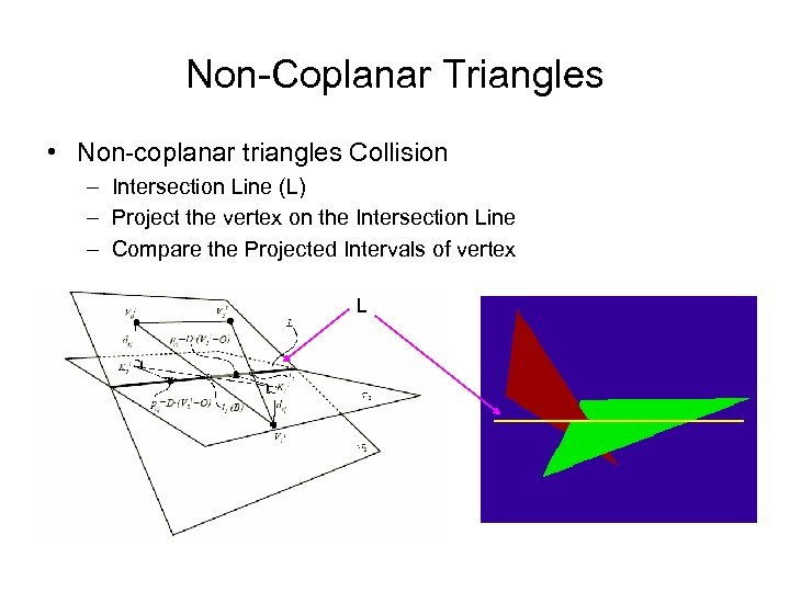 Non-Coplanar Triangles • Non-coplanar triangles Collision – Intersection Line (L) – Project the vertex