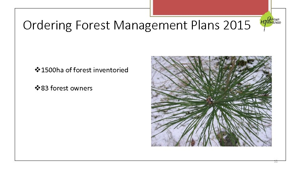 Ordering Forest Management Plans 2015 1500 ha of forest inventoried 83 forest owners 12