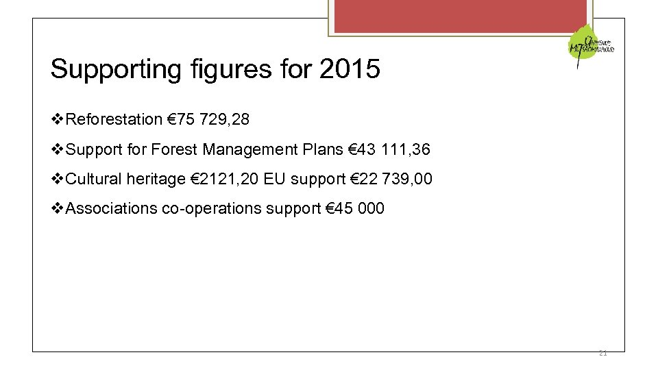 Supporting figures for 2015 Reforestation € 75 729, 28 Support for Forest Management Plans