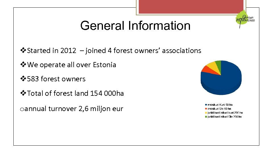 General Information Started in 2012 – joined 4 forest owners' associations We operate all