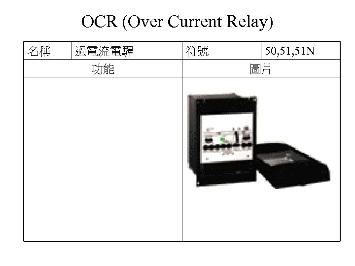 OCR (Over Current Relay) 名稱 過電流電驛 功能 符號 50, 51 N 圖片