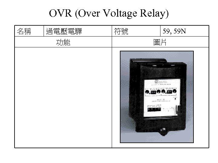 OVR (Over Voltage Relay) 名稱 過電壓電驛 功能 符號 59, 59 N 圖片