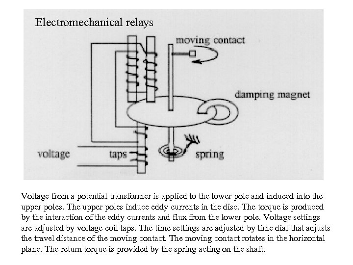 Electromechanical relays Voltage from a potential transformer is applied to the lower pole and