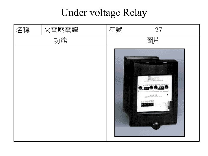 Under voltage Relay 名稱 欠電壓電驛 功能 符號 27 圖片