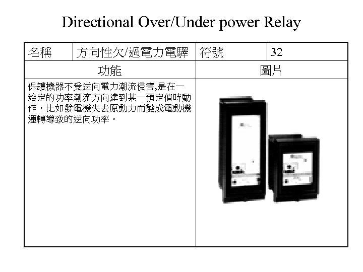 Directional Over/Under power Relay 名稱 方向性欠/過電力電驛 符號 功能 保護機器不受逆向電力潮流侵害, 是在一 给定的功率潮流方向達到某一預定值時動 作,比如發電機失去原動力而變成電動機 運轉導致的逆向功率。 32
