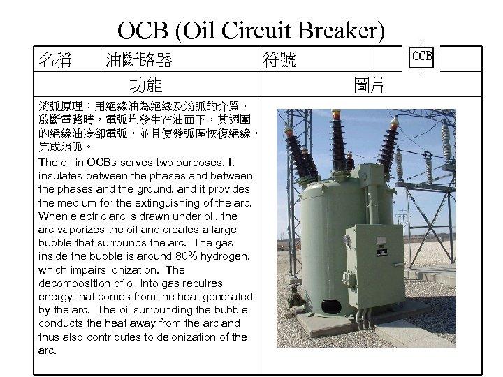 OCB (Oil Circuit Breaker) 名稱 油斷路器 功能 消弧原理:用絕緣油為絕緣及消弧的介質, 啟斷電路時,電弧均發生在油面下,其週圍 的絕緣油冷卻電弧,並且使發弧區恢復絕緣, 完成消弧。 The oil in