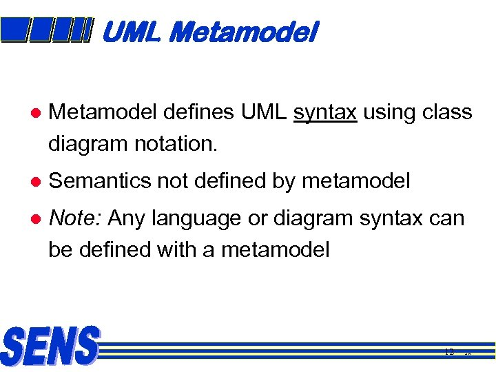 UML Metamodel l Metamodel defines UML syntax using class diagram notation. l Semantics not