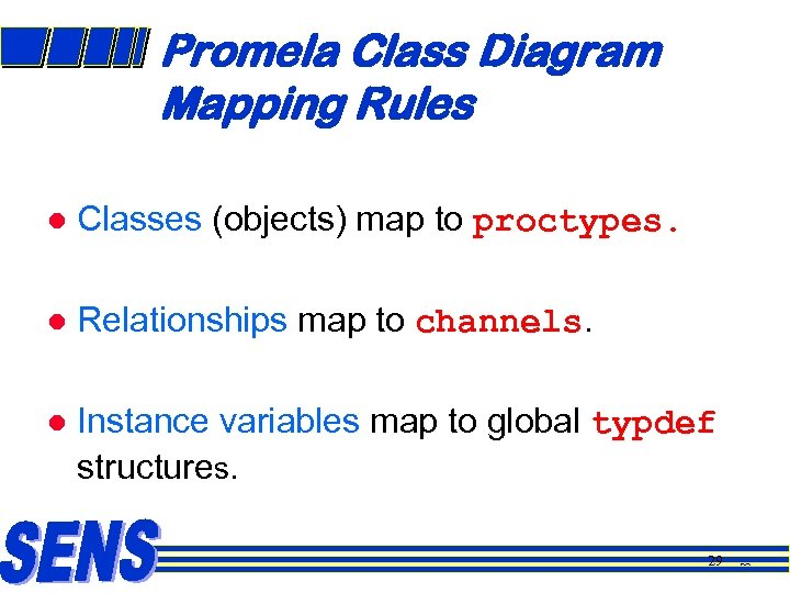 Promela Class Diagram Mapping Rules l Classes (objects) map to proctypes. l Relationships map