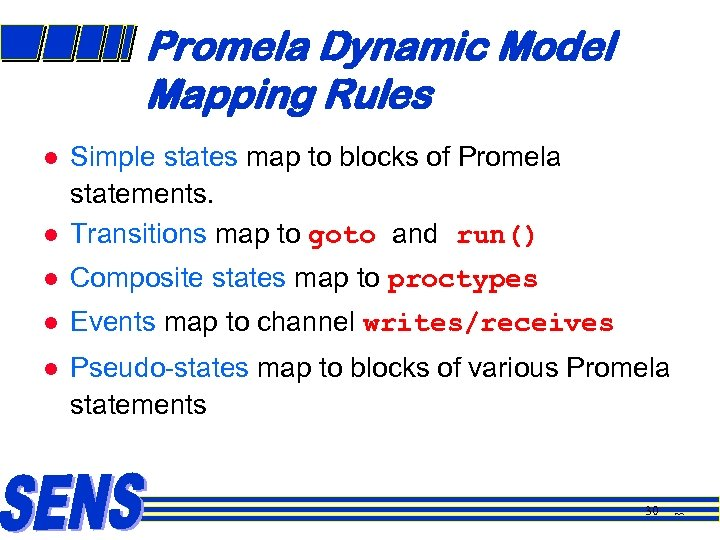 Promela Dynamic Model Mapping Rules l Simple states map to blocks of Promela statements.