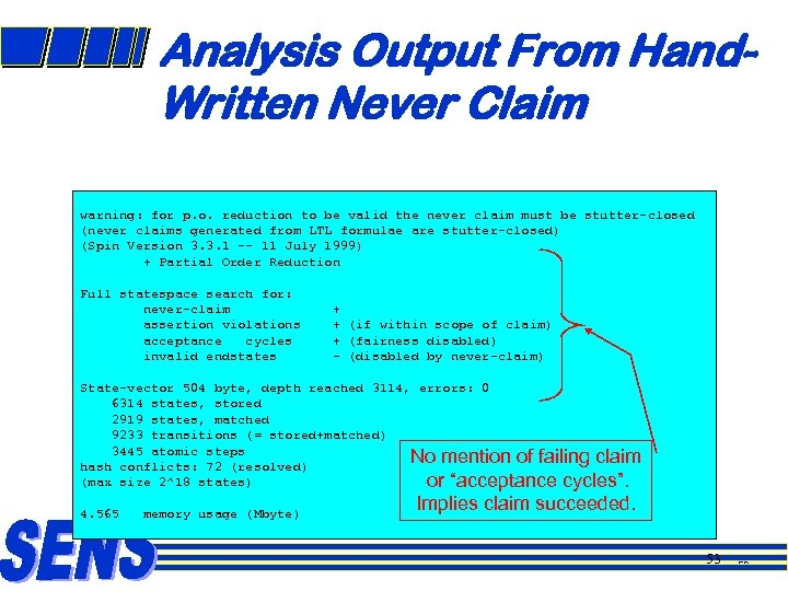 Analysis Output From Hand. Written Never Claim warning: for p. o. reduction to be