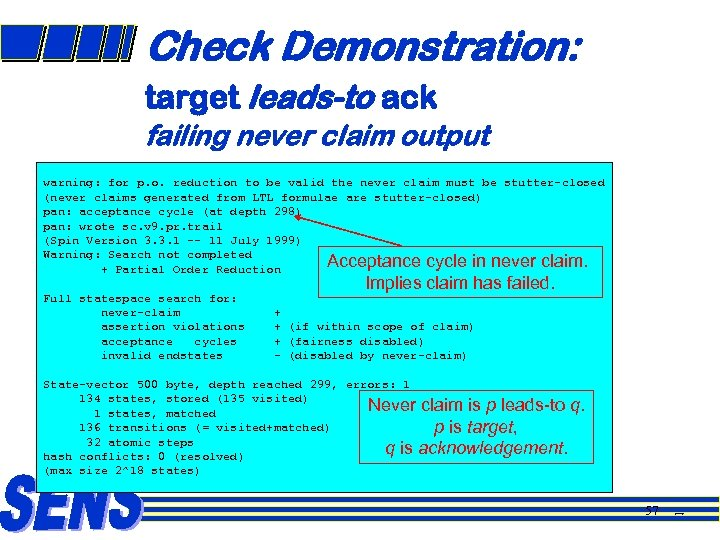 Check Demonstration: target leads-to ack failing never claim output warning: for p. o. reduction