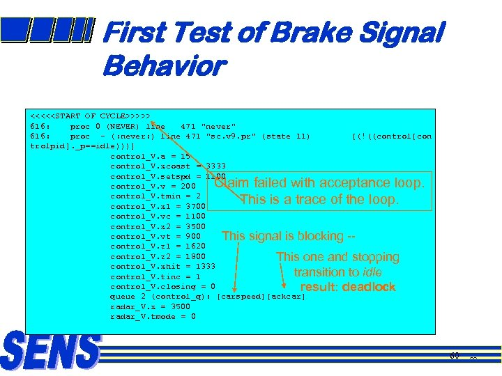 First Test of Brake Signal Behavior <<<<<START OF CYCLE>>>>> 616: proc 0 (NEVER) line