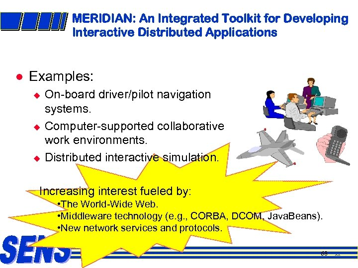 MERIDIAN: An Integrated Toolkit for Developing Interactive Distributed Applications l Examples: u u u