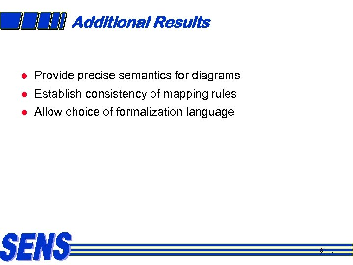 Additional Results l Provide precise semantics for diagrams l Establish consistency of mapping rules