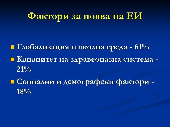 Фактори за поява на ЕИ n Глобализация и околна среда - 61% n Капацитет