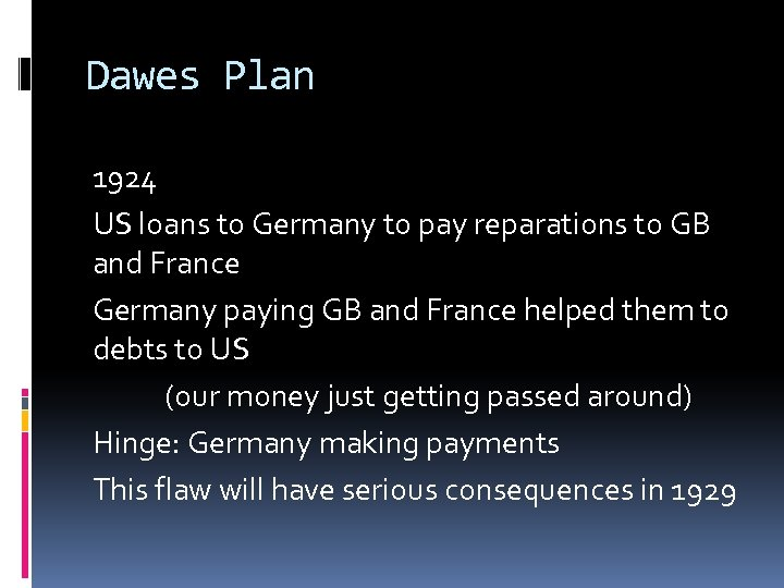 Dawes Plan 1924 US loans to Germany to pay reparations to GB and France