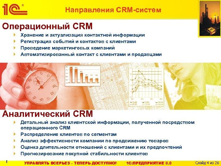 Направления CRM-систем Операционный CRM Хранение и актуализация контактной информации Регистрация событий и контактов с