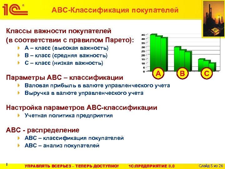АВС-Классификация покупателей Классы важности покупателей (в соответствии с правилом Парето): А – класс (высокая